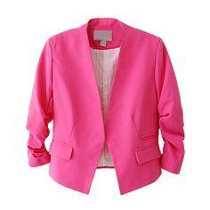 여성 캔디 컬러 여성 재킷 여성 재킷 3/4 소매 포켓 없음 버튼 여성 슬림 짧은 정장 재킷 재킷 Feminino