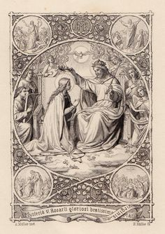 Rosarii gloriosi beatissima Mariae Virginis A German holy card of the five Glorious Mysteries of the Rosary: The Resurrection of The Ascension of The Descent of the Holy Ghost The Assumption of Mary The Crowning of Mary in Heaven Activity Catholic Religion, Catholic Art, Catholic Saints, Christian Drawings, Christian Art, Holy Mary, Religious Images, Religious Art, Assumption Of Mary