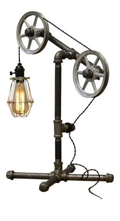 Upcycled lights by frecodeco hug gifts project ideas pinterest descriptionthis industrial table lamp is flexible enough to work in a home retail space or office the pulley wheels guide the wire through the light keyboard keysfo Image collections