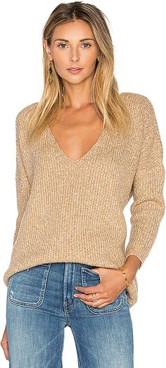 Callahan Heathered V Neck Sweater in Beige. - size M (also in S,XS)