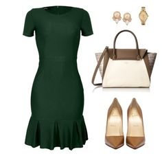 """""""Inighi Peplum Hem Pencil Dress"""" by eme-bassey on Polyvore featuring Vince Camuto, Carolee and Lacoste"""