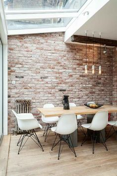 Marvelous Faux Brick Panels mode London Industrial Dining Room Decoration ideas with brick wall distressed wood industrial pendant light natural lighting pendant light reclaimed wood skylight (bedroom wall decorations faux brick) White Wash Brick, White Brick Walls, Exposed Brick Walls, Exposed Brick Kitchen, Interior Brick Walls, Exposed Beams, Brick Wall Interiors, Brick Accent Walls, Faux Brick Panels