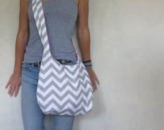 Cross Body Hobo Bag. Chevron Purse. OR Shoulder Bag. Small Purse. Gray and white Purse. Spring Line.