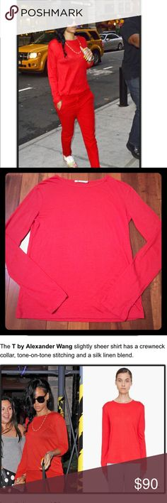 Alexander Wang Semi Sheer Red Top- Seen on Rihanna T Collection by Alexander Wang!  Red Long sleeve, loose fit, semi sheer red top.  Same top Rihanna was seen wearing out in New York!  Excellent condition, size XS, but flowy, would fit a Small.  Get this shirt today and style it up like Rihanna! Alexander Wang Tops