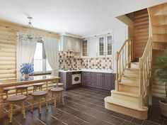 photo: Log Interior Staircase From Upstairs to the Kitchen Area