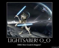 Humphrey with lightsaber, lol :)