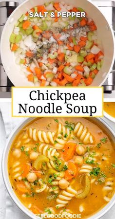 Chickpea Recipes Easy, Healthy Soup Vegetarian, Quick Soup Recipes, Vegetarian Recipes Dinner, Easy Chicken Recipes, Raw Food Recipes, Easy Healthy Soup Recipes, Vegetarian Chicken Noodle Soup, Vegan Soup