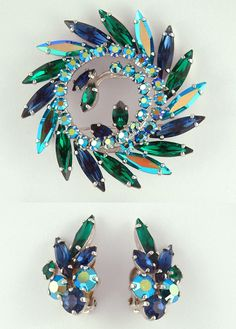 SHERMAN GORGEOUS AURORA BOREALIS, BLUE & GREEN RHINESTONES BROOCH & EARRINGS SET | eBay
