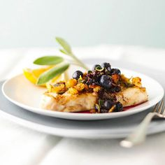 ♡ Grilled Halibut with Blueberry Sauce ♡