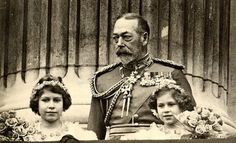 King George V with his two granddaughters, Elizabeth and Margaret.
