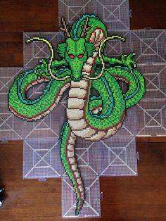Shenron - DBZ - Shenron – DBZ perler beads by herswansong Love it 😍 - Pokemon Perler Beads, Diy Perler Beads, Perler Bead Art, Pearler Beads, Perler Bead Templates, Pearler Bead Patterns, Perler Patterns, Owl Patterns, Quilt Patterns