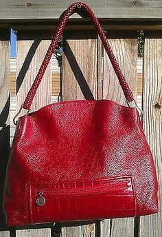 Bright Red Leather Brighton Handbag GREAT Condition Perfect For Christmas