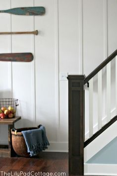 Planked Staircase wall The lily Pad Cottage Carpet Staircase, Staircase Railings, Stairways, Banister Ideas, Wood Handrail, Staircase Ideas, Flooring For Stairs, Bedroom Flooring, Basement Walls