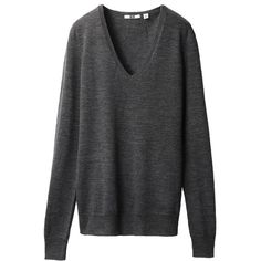 UNIQLO Extra Fine Merino V Neck Sweater (Basic colours) (53 BRL) ❤ liked on Polyvore featuring tops, sweaters, shirts, jumpers, merino wool shirt, merino wool v-neck sweater, v-neck shirts, v neck jumper and merino shirt