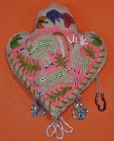 Haudenosaunee Confederacy (Iroquois 6 Nations) beaded pincushion, Trilobe  Heart, early 20th century.
