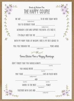 wedding mad libs -I'm really here for the.....
