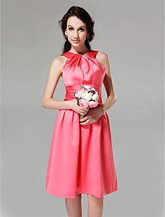 A-line Jewel Knee-length Satin Bridesmaid Dress – USD $ 89.99