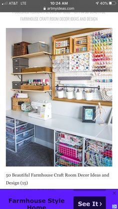 These are amazing craft room ideas! I found so many design and storage ideas for my craft room DIY. Sewing Room Design, Sewing Room Storage, Craft Room Design, Craft Room Decor, Sewing Room Organization, Craft Room Storage, Organization Ideas, Sewing Studio, Ideas For Craft Room