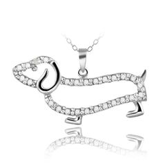 DB Designs Sterling Silver Diamond Accent Dachshund Dog Necklace | Overstock.com
