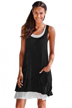 Casual Black Lace-Up Pockets Sleeveless Shirt Dress Summer Dresses For Women, Trendy Dresses, Cheap Dresses, Nice Dresses, Casual Dresses, Short Dresses, New Dress, Lace Dress, Dress Indian Style