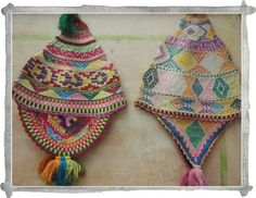 Traditional Peruvian knitted chullos (hats)