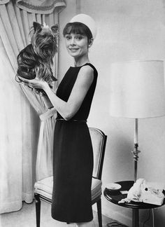 Audrey with her dog Assam Of Assam at The Regency Hotel, 1963.