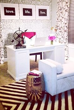 Have a spacious home office? Add a seating area with an upholstered bench, and flank it with a gold garden stool as a side table!