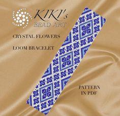 Bead loom pattern - Crystal flowers LOOM bracelet pattern in PDF instant download by KikisBeadArts on Etsy https://www.etsy.com/listing/289310227/bead-loom-pattern-crystal-flowers-loom