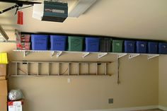 garage storage wall mounted shelving | Add Wall Shelving to your Garage for those often needed items.
