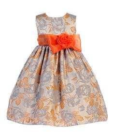Loving this Crayon Kids Orange & Gray Floral Bow A-Line Dress - Toddler & Girls on #zulily! #zulilyfinds