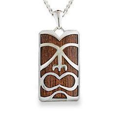 Stainless Steel Koa Wood Tiki Pendant (Chain Included) - Koa Inlay Jewelry - Collections