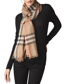 Gauze Check Scarf, Camel by Burberry at Neiman Marcus. $395.  Small Check
