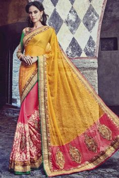 Wedding saree boutique online, Pink with Yellow georgette sari for diwali,  now in shop. Andaaz Fashion brings latest designer ethnic wear collection in US