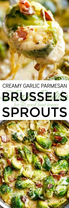 Creamy Garlic Parmesan Brussels Sprouts with Bacon - Cafe Delites. Take out bacon for vegetarian. Side Dish Recipes, Low Carb Recipes, Cooking Recipes, Healthy Recipes, Vegetable Side Dishes, Vegetable Recipes, Vegetarian Recipes, Keto Veggie Recipes, Frango Chicken
