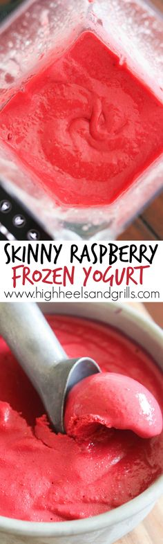 Skinny Raspberry Frozen Yogurt Collage - Requires just 4 ingredients, low-cal, and sweetened with only honey. This is so good and you'd never guess it was healthy by how it tastes!