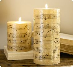 These candles were made from sheet music printed on tissue paper & heated w/a heat gun (you can also use wax paper & a hairdryer). So many possibilities!!