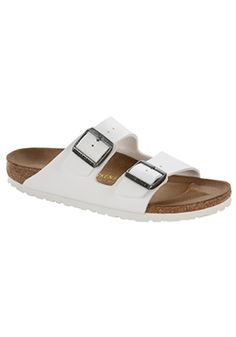 The oft-imitated never-duplicated wonder from Birkenstock the women's Arizona Birko-Flor sandals are a comfort legend and daily wardrobe staple. Strappy Flats, T Strap Flats, Monk Strap Shoes, Birkenstock Arizona White, Socks And Sandals, Shoes Sandals, Flat Shoes, Sandals Outfit, Women Sandals