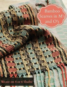 4-shaft or 6-shaft weaving project: handwoven scarf in M's and O's! Get the instructions as part of Handwoven's Autumn Weaving Pattern Pack.