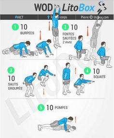 Objectifs : jambes et cardio  10 series de chaque enchainées. En fin de chaque 2 séries recup de 30 secondes
