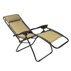 BestChoiceproducts Zero Gravity Chairs Case Of (2) Tan Lounge Patio Chairs  Outdoor Yard Beach