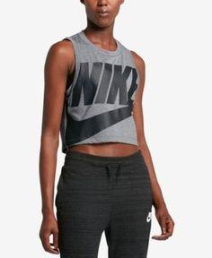 Nike Sportswear Essential Cropped Tank Top - Gray XS