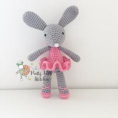 Crochet Bunny Ballerina Personalised Doll Cuddle by honeylemonshop