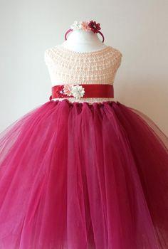 Flower girl dress Christmas tutu dress by MimozaLuxuryHandKnit