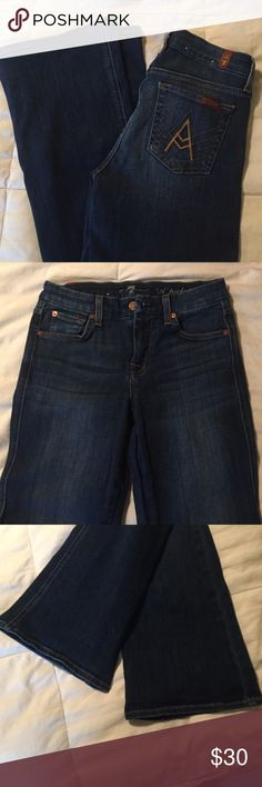 For all mankind seven jeans In great condition! Size 26, length 31 inseam. 89% cotton, 9% polyester, 2% spandex. No holes and no stains. They do stretch. 7 For All Mankind Jeans Boot Cut