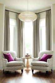 Creative ways awesome furniture arrangement ideas - living room furniture arrangement ideas Bay Window Living Room, Living Room Decor Curtains, Living Room Decor Colors, Living Room Furniture Arrangement, Living Room Color Schemes, Living Room Seating, Boho Living Room, Formal Living Rooms, Furniture Layout
