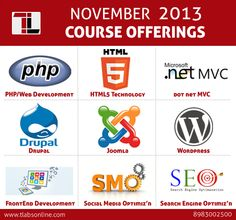 Course offering by Technnovation Labs: PHP, HTML5, Dot net MVC, Drupal, Joomla, WordPress, Front End Development, SMO & SEO courses. http://www.tlabsonline.com/courses-offered-by-tlabs.html