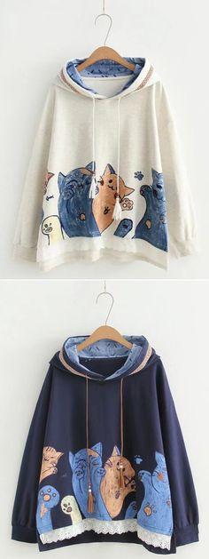 Cute Loose Hooded Sweatshirt For Women