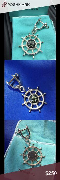 Tiffany & Co.. Ships' Wheel Compass Key Ring Ships' Wheel Compass Key Ring .. Sterling silver.. Retired piece ..  beautiful piece .. Compass works Tiffany & Co. Jewelry