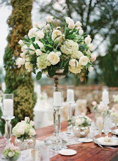 Awesome! David Austin roses, ivory roses, hydrangea and eucalyptus. Love it.