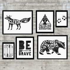 Monochrome Nursery, Be Brave , Black and White Nursery Art Printable Gallery Wall Set, Bear, Fox, Arrows, Teepee, monochrome nursery art by PrintsAndPrintables on Etsy https://www.etsy.com/listing/292647031/monochrome-nursery-be-brave-black-and